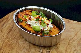 Gepofte zoete aardappel met roomkaas